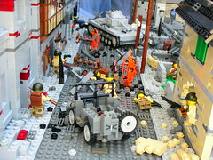 Saint Lo (Cool Whip) Tags: street city house building saint bar soldier town cool tank lego jeep destruction wwii explosion lo german whip ww2 motor destroyed axis panzer allies amercian brickarms flak88