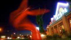 red balloon dancer makes a wish (bijoubaby) Tags: longexposure light lightpainting motion blur giant star fan washington movement waves dof wind bokeh dusk balloon dancer blow wishes monroe anchor wa wish wastate float valhalla ixtapa redballoon meteor drift hwy2 wishing luckyshot dances happily anchored shootingstar pu