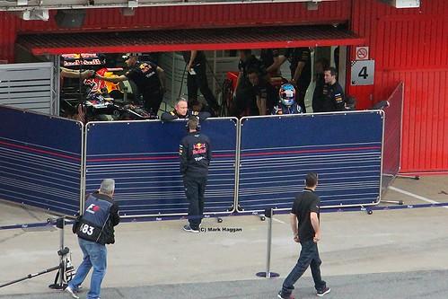 Sebastian Vettel in his pit garage at Formula One Winter Testing, Circuit de Catalunya, March 2012
