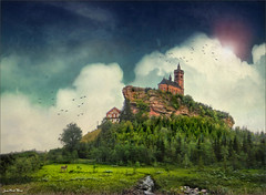 Always higher (Jean-Michel Priaux) Tags: france tower castle church nature rock photoshop painting landscape roc roman gothic medieval alsace paysage protection lorraine gothique hdr rocher vosges moselle dabo ne priaux mygearandme flickrstruereflection1 rememberthatmomentlevel1 flickrsfinestimages1