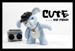 Blue Bunny Thug (Karly West) Tags: sculpture cute bunny bunnies art toy weird gangster artwork geek pastel rabbits hip hop figurine thugs nerdy offbeat