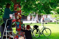 Knit'n'Tag 2012 Making of (Supafly Helsinki street art office) Tags: color art graffiti helsinki colorful knit spray knitted hel happi street art ruttopuisto katutaide supafly nuoret kaupunkitaide neulegraffiti nuorisoasiainkeskus
