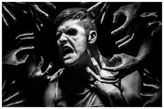 Tortured Soul. (jessiehymaphotography) Tags: portrait white black guy college self death scary hell evil anger niagara creepy torture horror demon flour distressed selfie