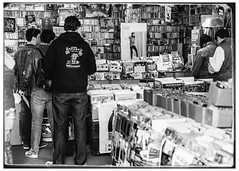 Standing In Line on Record Store Day 2014 (swanksalot) Tags: blackandwhite bw music records 35mm vinyl stranger bobdylan record johnnycash pattismith theclash musichistory