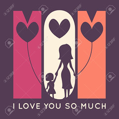 Happy Mother Day retro greeting card. Vector illustration (hvqphu) Tags: family original woman holiday abstract black cute art love girl silhouette shirt illustration vintage children poster mom happy typography design kid graphics day heart graphic symbol background mommy cartoon banner daughter decoration young mother mama celebration mum together card lovely tee greeting vector template contour element tenderness parenting zzzabeaaalengpgnfagphdhegfhcfpdb