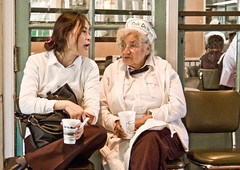 conversation on break (gillianchicago) Tags: coffee neworleans cafedumonde cafes workinglife