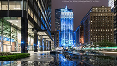 Multiple Reflections (DSC07005) (Michael.Lee.Pics.NYC) Tags: longexposure newyork reflection wet glass rain architecture night cityscape sony parkavenue lighttrail helmsleybuilding traffictrail voigtlanderheliar15mmf45 a7rm2
