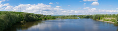Panorama (Alexey Mikheykin) Tags: trees summer sky panorama reflection nature water clouds forest river landscape outdoor pano hill