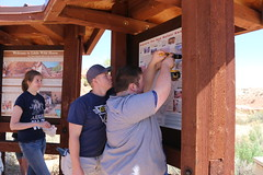 Volunteers clean up Little Wildhorse Canyon (BLMUtah) Tags: sun outdoors graffiti utah back san little center canyon giving rafael slot volunteer removal reef eastern usu blm wildhorse bureauoflandmanagement stewardship
