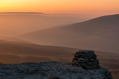 Misty Glow (Angus Goosey Cogan) Tags: morning light sunset summer sky orange sun mountain nature lines clouds landscape countryside yorkshire hills valley dales penyghent