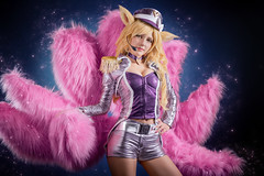 Popstar Ahri (adenry) Tags: pink portrait game sexy girl beautiful studio skin cosplay lol sparkle blond legends sparkling tails popstar ahri leagueoflegends aniplay