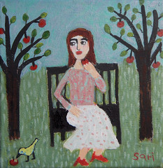 """#1323 """"Apples"""" (sariart2) Tags: original trees woman bird apple girl yellow lady self bench painting landscape acrylic raw ooak naive sari eater primitive childlike azaria noy taught"""