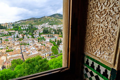 The Alhambra, Granada - Palacios Nazares - Palacio de Comares - Cuarto Dorado (golden chamber) looking out on Granada's Albaicn district (peripathetic) Tags: building beauty architecture canon buildings spain worldheritagesite espana alhambra moorish granada 5d palaces 2016 nasrid nazaries 5dmkiii 5dmk3 canoneos5dmk3