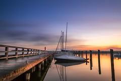 Good morning (Michael Siems Photoart) Tags: sunset mecklenburgvorpommern light sunshine sonnenuntergang pier steg harbour hafen sailingship segelboot port blue fischland darss germany ribnitz