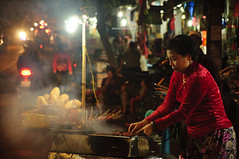 Night Grill (puting bagwis) Tags: food streets lady night asian culture streetphotography grill vietnam explore vendor grilling hanoi society seller societyculture putingbagwis aaronsalazar