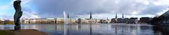 Wenn in Hamburg die Sonne scheint.... (Hoffnungsschimmer) Tags: blue sky panorama sun water clouds germany town hall outdoor hamburg wolken inner rathaus alster binnenalster fontne jungfernstief