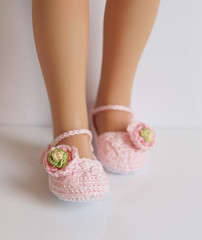 Pink Ranunculus (Maria Kłopotowska) Tags: pink flower green shoes doll hand handmade crochet ranunculus made slippers littledarling effner