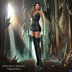 Electra dress & Alexia boots (.:TheBeautifulOnes:. Babs Draconia) Tags: summer colors leather fetish high venus dress boots platform mini bdsm event lara tropical hud mistress isis halter straps exclusive monthly marvelous freya belleza physique hourglass kneehighboots tmp frills maitreya slink mixandmatch strappeddress fitmesh fittedmesh