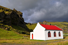 (Steini789) Tags: red white house building nature iceland cloudy