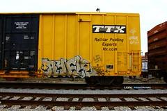 RIFLE (KNOWLEDGE IS KING_) Tags: railroad art yard train bench graffiti paint tracks railway socal bomb railfan freight