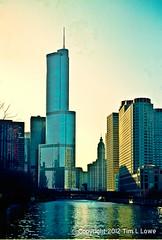 Chump (Rescam) (Tim L Lowe) Tags: chicago chump chumptower thedonald feo ugly wrigleybuilding nikon n80 kodakportra160 plustekopticfilm7400