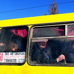 (Che-burashka) Tags: street people bus colours candid flag ukraine condensation behindtheglass