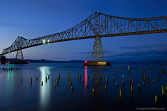 Astoria-Megler Bridge (Dave Arnold Photo) Tags: longexposure bridge usa night oregon river us photo fishing ruins san ship image or arnold picture pic pelican columbia columbiariver photograph astoria pilings longest waterfowl ore cannery seabird fishingfleet megler davearnold trussbridge shippinglane astoriamegler canneryruins davearnoldphotocom mygearandme