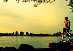 Golden Light (DayTripper15) Tags: summer selfportrait eastriver astoria bikerides queensny thesunissetting bikeadventures summereveningbikerides