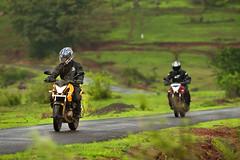 Two mean machine out for a ride (~Gourab Das) Tags: green yellow monsoon maharashtra pune pulsar200ns pulsae