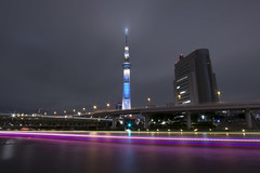 Tokyo Skytree - Illumination (counteragent) Tags: longexposure japan canon eos tokyo   lighttrails asakusa dslr sumidagawa  superwideangle 10mm canonefs1022mmf3545usm sumidariver  skytree 60d counteragent  tokyoskytree  tokyoskytreeatnight boattrailsonriver