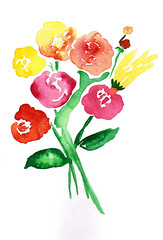 flowers for the living (shadows_of_reverie) Tags: flowers watercolor bouquet paintedflowers