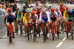 Here Come The Girls! (Surrey Dave) Tags: cycling olympics roadrace brooklands weybride onyerbike
