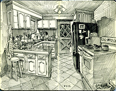 in the kitchen (paul heaston) Tags: moleskine notebook observation drawing journal sketching sketchbook penandink