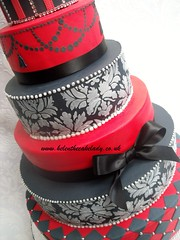 6 tier red & black closeup (Helen The Cake Lady) Tags: wedding red 6 white black cake stencil feathers anniversery tier elegance diamonte