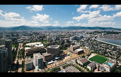 (Crusade.) Tags: travel blue sky bird tower japan zeiss canon landscape view shift  17 fukuoka dslr tilt ff tse kyushu 5d2