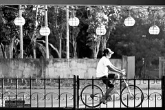 The Journey (Luckynash) Tags: white man black bicycle gates journey frame framing