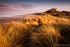 Bamburgh Castle ([[BIOSPHERE]]) Tags: sunset sea seascape castle beach landscape northumberland bamburgh marramgrass