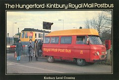 The Hungerford to Kintbury Royal Mail Postbus . Kintbury Station , Berkshire . (AndrewHA's) Tags: bus station crossing post mail royal pb hungerford level maidstone minibus commer rootes kintbury