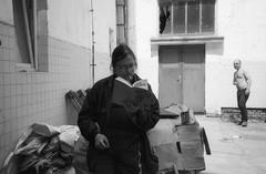 Olympus Mju II - Lunch Break (Kojotisko) Tags: bw selfportrait brno creativecommons czechrepublic mju2 olympusmjuii