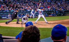 Heads Up (Wes Iversen) Tags: people chicago men sports illinois women baseball hats fences wrigleyfield fans spectators lakeview crowds chicagocubs wrigleyville umpires hss baseballplayers dugouts nikkor18300mm sliderssunday addisonrussell