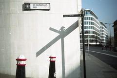 St Dunstans Hill, on film (Sarah-Louise Burns) Tags: city light shadow london film st vintage cityscape shadows bright retro analogue dunstan ec3