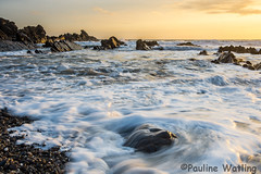 Evening in Bude (stagenutuk) Tags: ocean sunset sea sky beach rocks cornwall waves foam bude nikon1024lens nikond7200