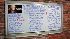 The Celebrity Candidate Writers Room Whiteboard (DonkeyHotey) Tags: face photomanipulation photoshop photo election political politics cartoon manipulation politician donaldtrump republican campaign primary gop rnc commentary generalelection 2016 johnmiller politicalcommentary donkeyhotey thebigorangehead