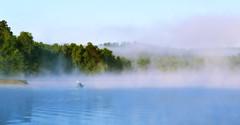 Kayaking at Dawn (Amandaclicks) Tags: trees mist lake mountains water fog outdoors kayak tennessee kayaking treeline indianboundary cherokeenationalforest treesinmist treesinthemist