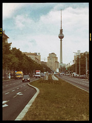 (Delay Tactics) Tags: road street sky berlin tower cars architecture clouds photo tv traffic outdoor border tourist marx karl fernsehturm vans rule attraction thirds alee