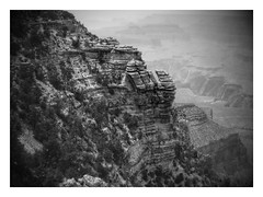Grand Canyon (World-viewer) Tags: park arizona blackandwhite bw cliff white black nature monochrome wonder landscape nationalpark rocks fuji view outdoor grandcanyon ngc grand landmark canyon national sediment views finepix vista layer layers geography geology overhang