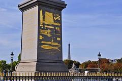 Base of Cleopatra's Needle (AntyDiluvian) Tags: trip paris france obelisk base diagrams placedelaconcorde goldleaf cleopatrasneedle 2015
