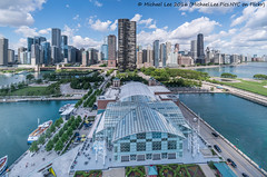 Aerial Navy Pier (DSC08641-Pano-Edit) (Michael.Lee.Pics.NYC) Tags: panorama sun chicago rooftop architecture clouds cityscape sony aerial lakemichigan ferriswheel navypier olivepark voigtlanderheliar15mmf45 centennialwheel a7rm2