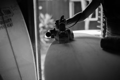 Mere Made Surfboards (Laurent_Imagery) Tags: encinitas ca valerieduprat meremadesurfboards shape shaper shaping noiretblanc noirblanc noir dark darkness silhouette shadow surf surfer surfboard french lady hands hand fingers tools tool boardroom culture lifestyle sport passion lightroom nikon d3 california sandiego shaped precision