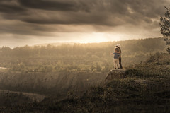 together (iwona_podlasinska) Tags: sky childhood clouds children rocks dramatic clifs
